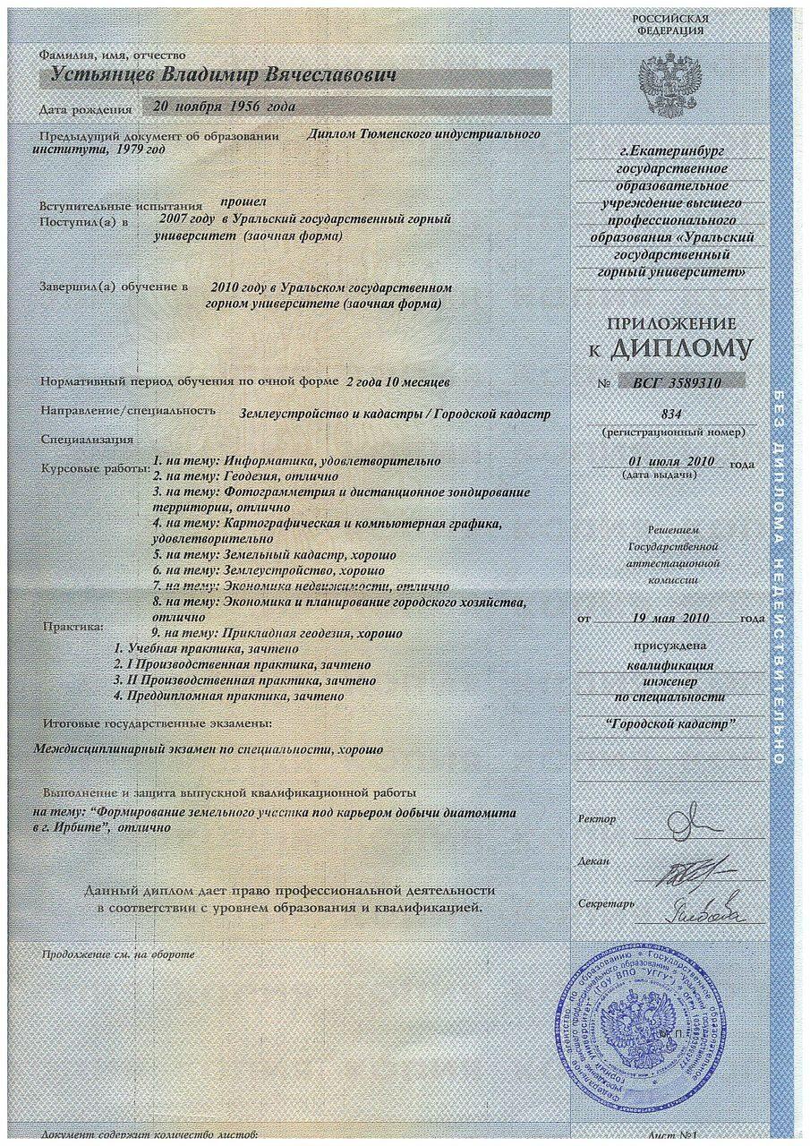 Лицензии и аттестаты УВВ 2010 Диплом горный Приложение 1